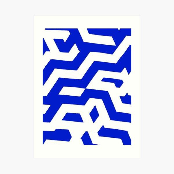 ZickZack Indigo Muster Kunstdruck