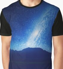 Starry Night Sky on Mountainous Lake  Graphic T-Shirt