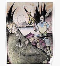 Vintage 70's Galactic Dinosaure Hunter Poster