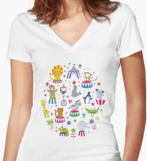 Circus Animal Alphabet - multicoloured on sky blue Women's Fitted V-Neck T-Shirt