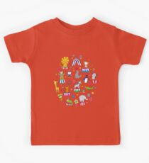 Circus Animal Alphabet - multicoloured on sky blue Kids Tee
