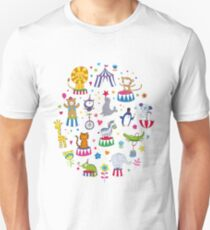 Circus Animal Alphabet - multicoloured on sky blue Unisex T-Shirt