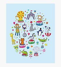 Circus Animal Alphabet - multicoloured on sky blue - Cute animal pattern by Cecca Designs Photographic Print