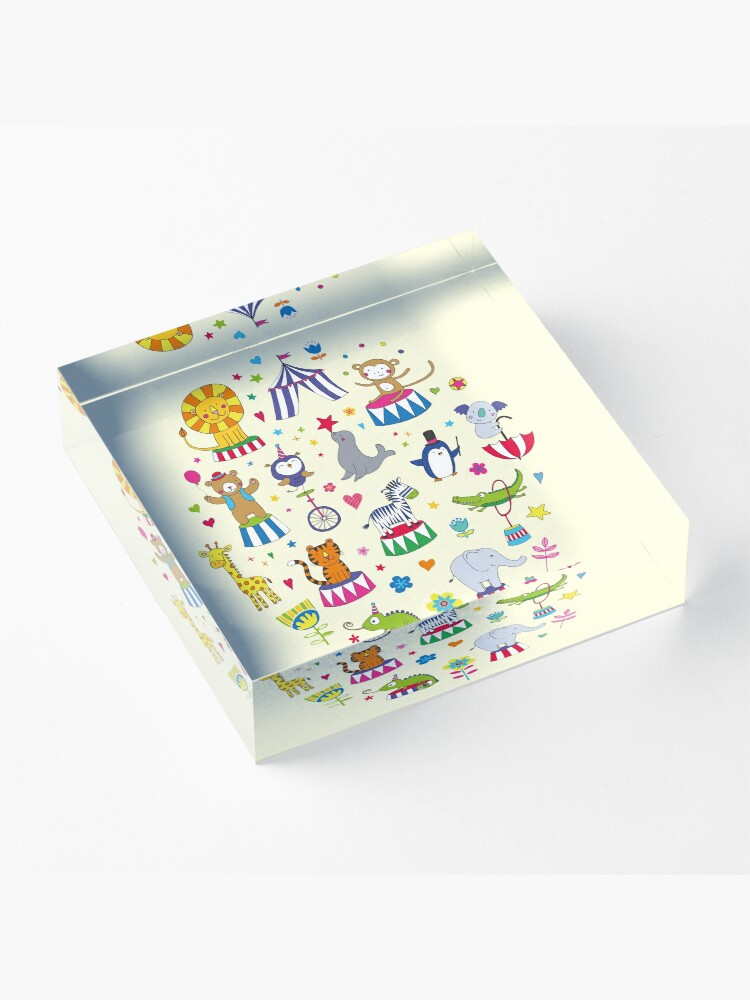 Alternate view of Circus Animal Alphabet - multicoloured on cream - Cute animal pattern by Cecca Designs Acrylic Block