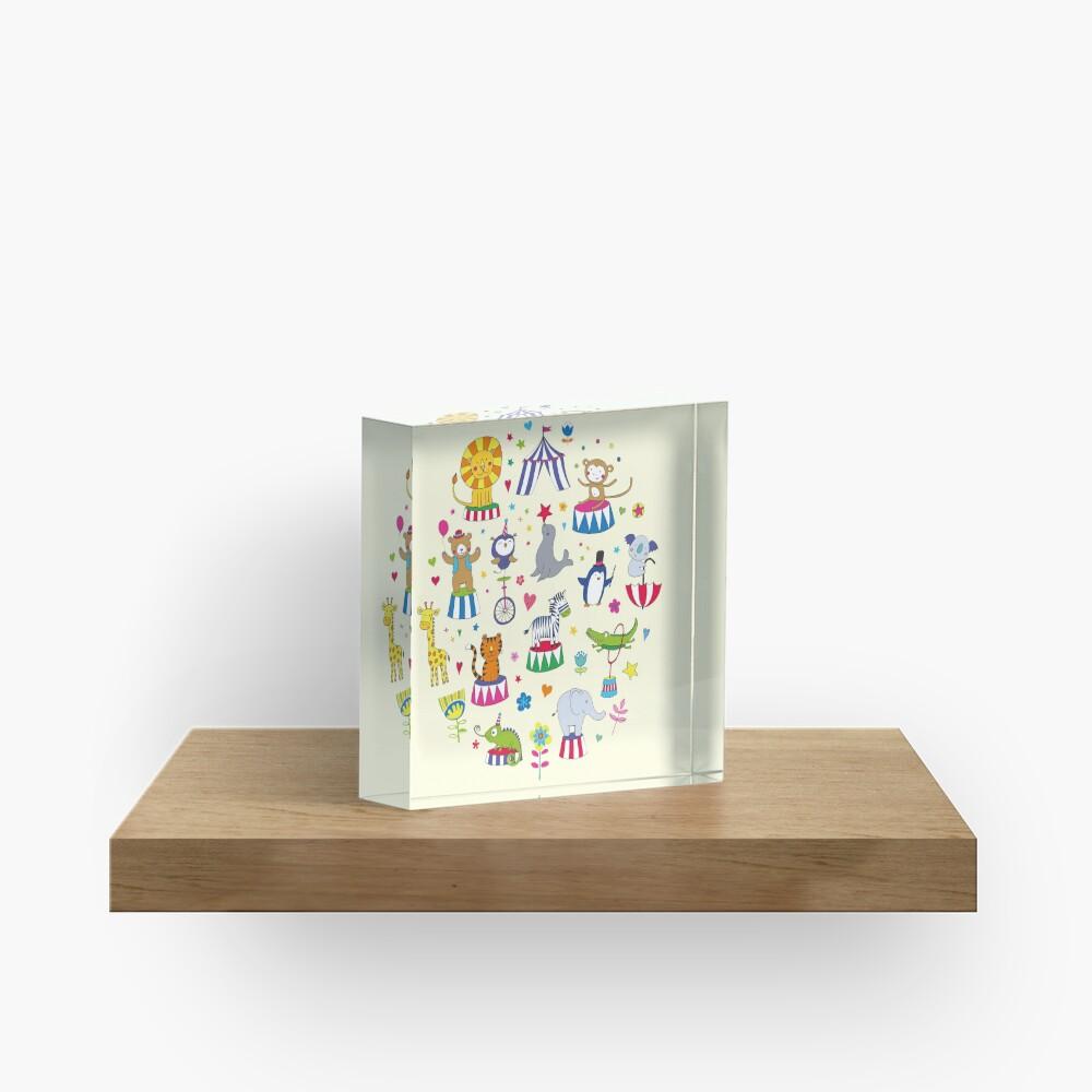 Circus Animal Alphabet - multicoloured on cream - Cute animal pattern by Cecca Designs Acrylic Block