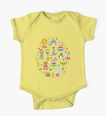 Circus Animal Alphabet - multicoloured on cream - Cute animal pattern by Cecca Designs Kids Clothes