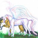 Winged Unicorn and Mustang Horse by Stephanie Small