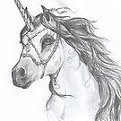 Unicorn in Decorative Halter by Stephanie Small