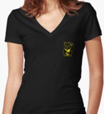 Black HOLLO (maneki-neko) Lucky Cat Print Women's Fitted V-Neck T-Shirt