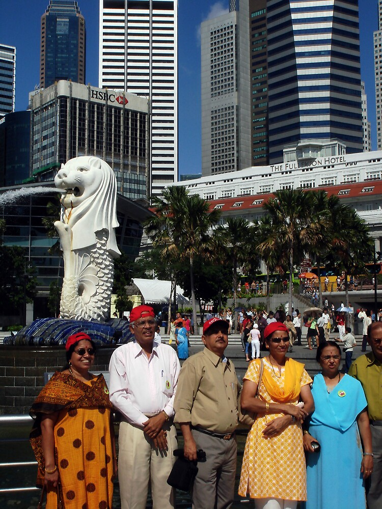 Merlion and an Indian Family by Karen Topacio