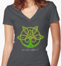 Elven Tree of the Enlightened  Women's Fitted V-Neck T-Shirt