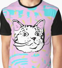 Amazed Cat in Pastel Background Graphic T-Shirt
