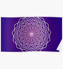 Purple and White Spiral Mandala Poster