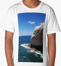 White cliff in turquoise waters Long T-Shirt