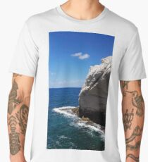 White cliff in turquoise waters Men's Premium T-Shirt