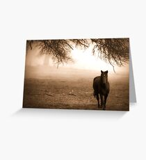 Horse in the Fog Sepia Greeting Card