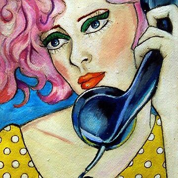 Pin Up Illustration: Hanging on the Telephone by fossyboots