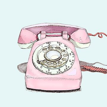 Original Illustration: Pink Rotary Phone by fossyboots
