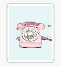 Original Illustration: Pink Rotary Phone Sticker