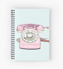 Original Illustration: Pink Rotary Phone Spiral Notebook