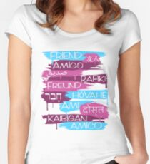 Friends From Other Ends - Coral and Purple Women's Fitted Scoop T-Shirt