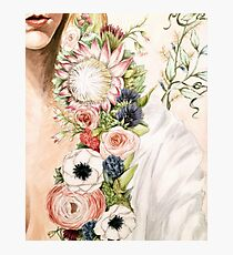 Original Floral Painting: Natural Girl Photographic Print