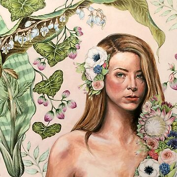 Original Floral Portrait Painting: Au Naturale by fossyboots