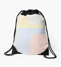 Abstract: Periwinkle, Rose & Straw Drawstring Bag