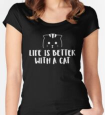 Life is Better with a Cat - White Women's Fitted Scoop T-Shirt