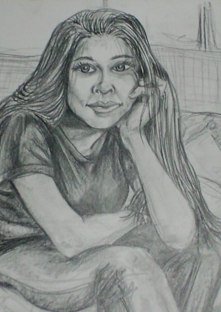 Portrait of a Girl (Drawing)- by Robert Dye