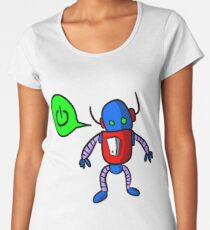 Kids Cartoon Robot Drawing Women's Premium T-Shirt