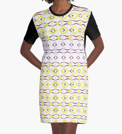 Beautiful Shape Movement Yellow and Purple Graphic T-Shirt Dress