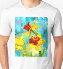Spring - daffodils in alcohol ink painting Unisex T-Shirt