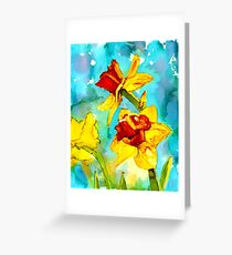 Spring - daffodils in alcohol ink painting Greeting Card