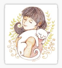 Sleeping White Cat Sticker