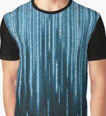 Blue Binary Rain Graphic T-Shirt