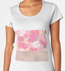 Blushing peonies - rose gold foil Women's Premium T-Shirt