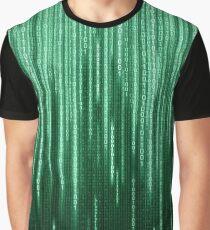 Green Binary Rain Graphic T-Shirt