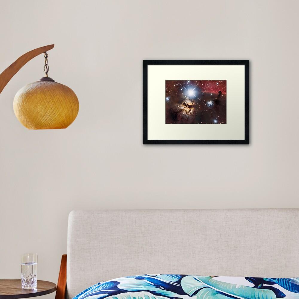 Flame Nebula + Horsehead Framed Art Print