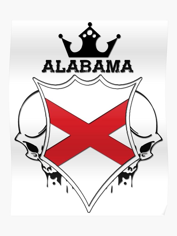 Alabama Flag - Coat of Arms - Skull Design - America - United States |  Poster