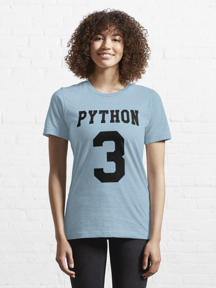 Alternate view of Python 3 - Black College Style Design for Python Programmers Essential T-Shirt