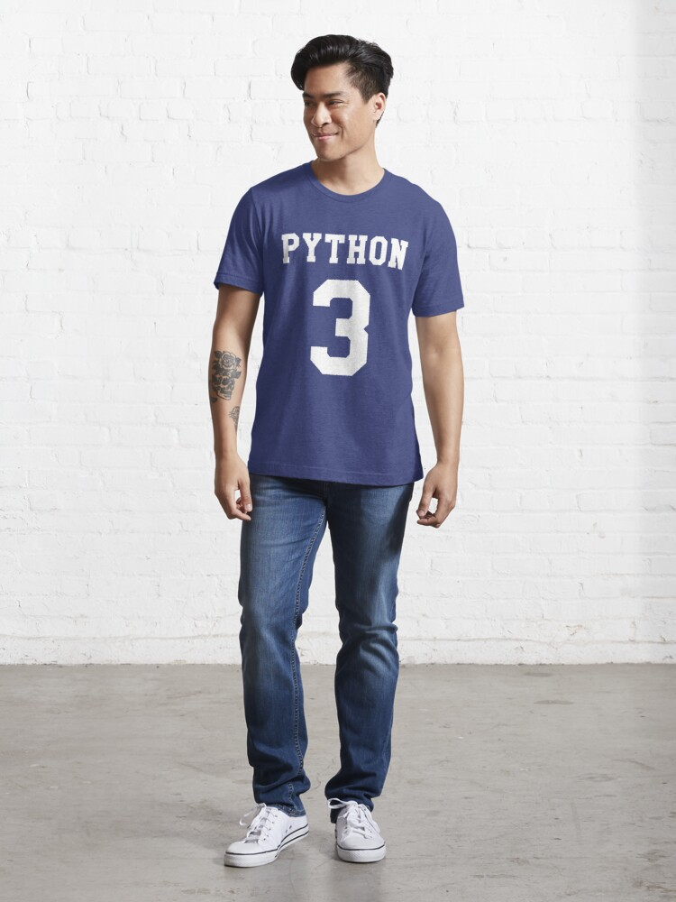 Alternate view of Python 3 - White College Style Design for Python Programmers Essential T-Shirt