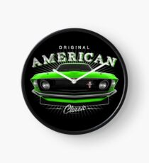 Ford Mustang Classic Muscle Car Green Clock
