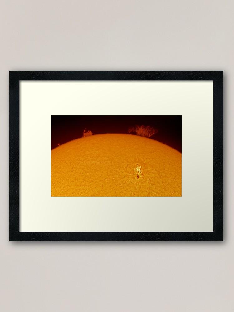 Alternate view of Sun spot and flares in Hydrogen Alpha Framed Art Print