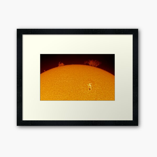 Sun spot and flares in Hydrogen Alpha Framed Art Print
