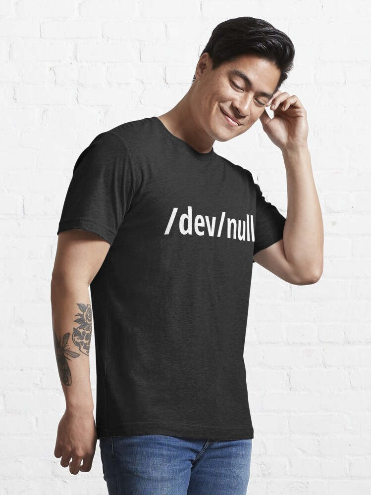 Alternate view of /dev/null - Funny Computer Geek Design - White Text Essential T-Shirt