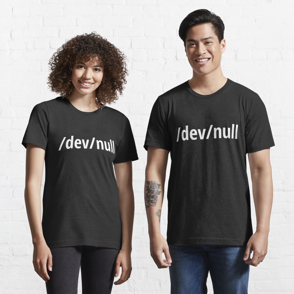 /dev/null - Funny Computer Geek Design - White Text Essential T-Shirt