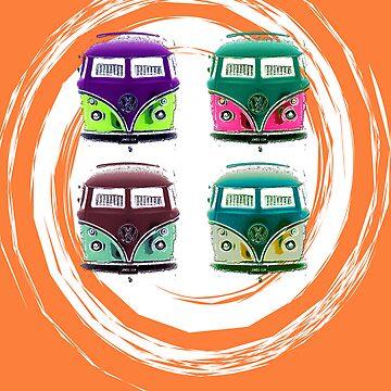 Pop Kombi Orange Print by KellieBee