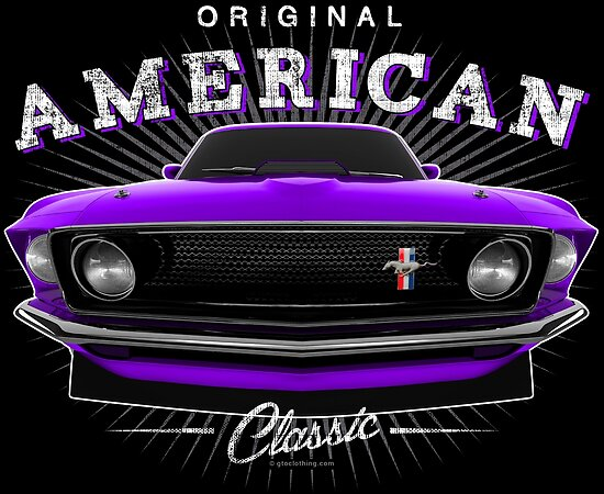 Ford Mustang Classic Muscle Car Purple Posters By Gtoclothing