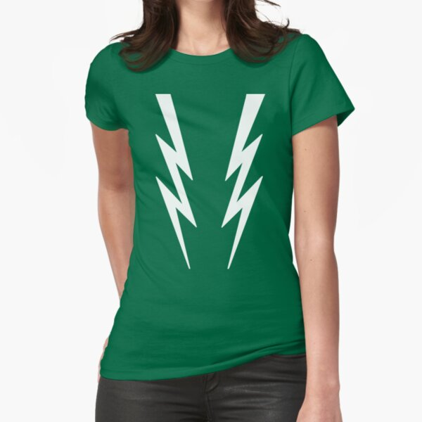 White lightening bolts on green - Boosh inspired Fitted T-Shirt